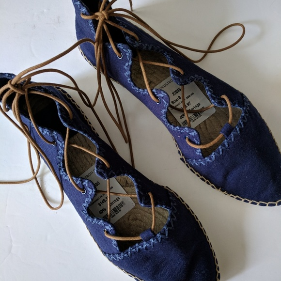 Tory Burch Shoes - Tory Burch Blue Sonoma Tie Up Espadrilles Flats